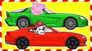 Машинки. Мультик. Гонки. Щенячий патруль. Фиксики. Свинка Пеппа.Learn colors.