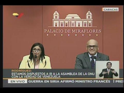 Rueda de prensa de Delcy Rodríguez y Jorge Rodríguez sobre migración, 3 septiembre 2018
