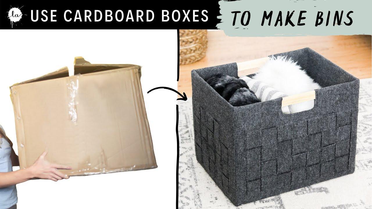 Diy Storage Box From A Cardboard Box Into A Pretty Felt Bin