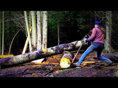 Lifting Heavy Logs onto Seasoning Pile- Log Cabin Update- Ep 9.9