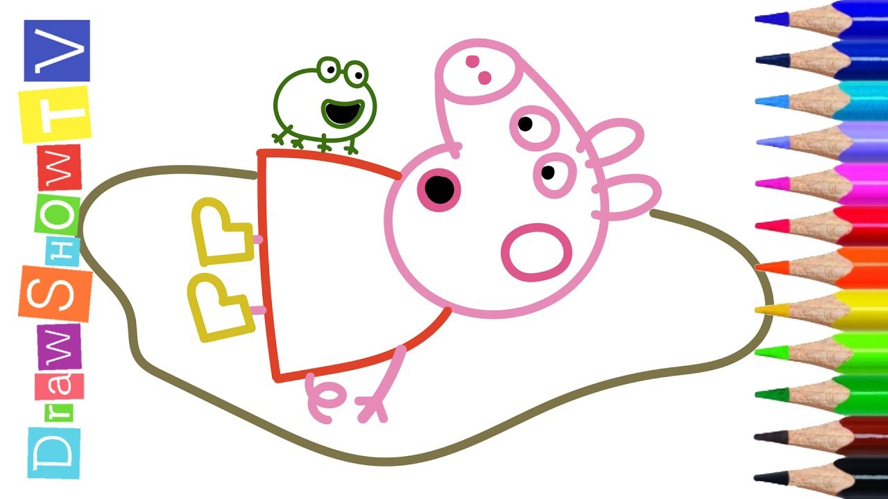 Peppa Pig Peppa And Funny Green Crazy Frog Coloring Book Pages With Colored Markers
