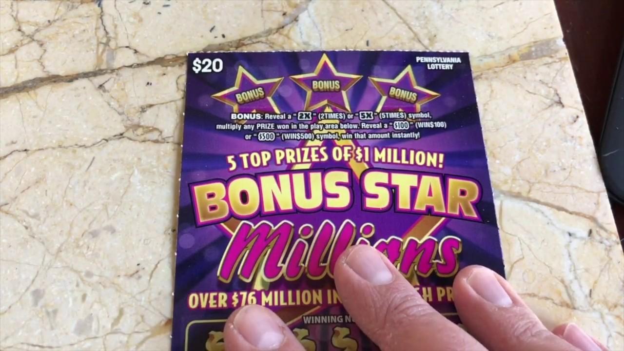 $20 BONUS STAR MILLIONS - WINPRZZZ - PA Lottery Scratch Off Ticket