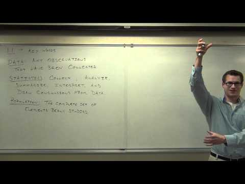 Statistics Lecture 1.1:  The Key Words and Definitions For Elementary Statistics