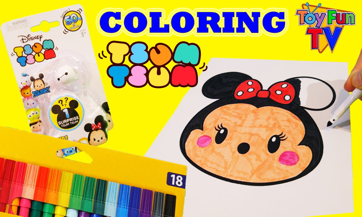 Disney Tsum Coloring Page Surprise Pack Opening Minnie Mouse