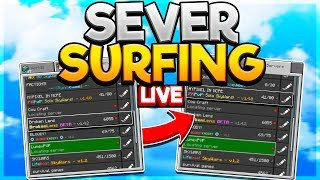 SERVER SURFING IN MINECRAFT PE ( PLAYING ON SERVERS WITH FANS )