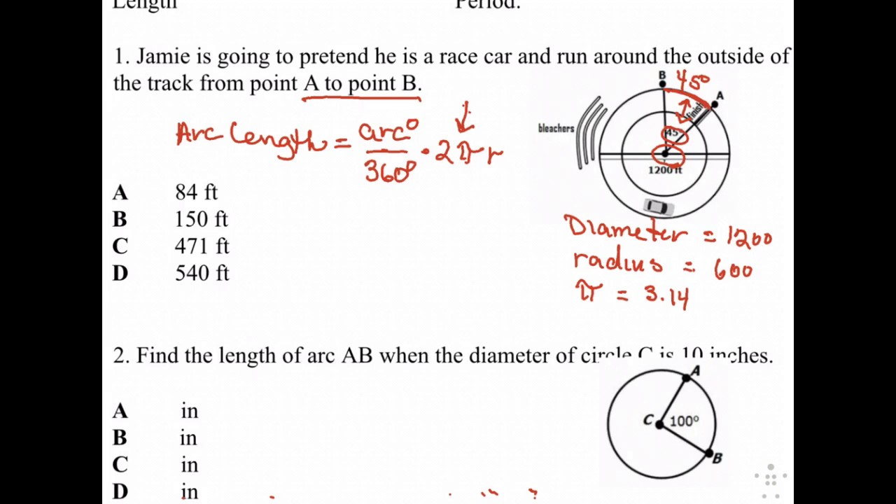 Homework #8 Area Of Sector And Arc Length Youtube How To Find The Area Of