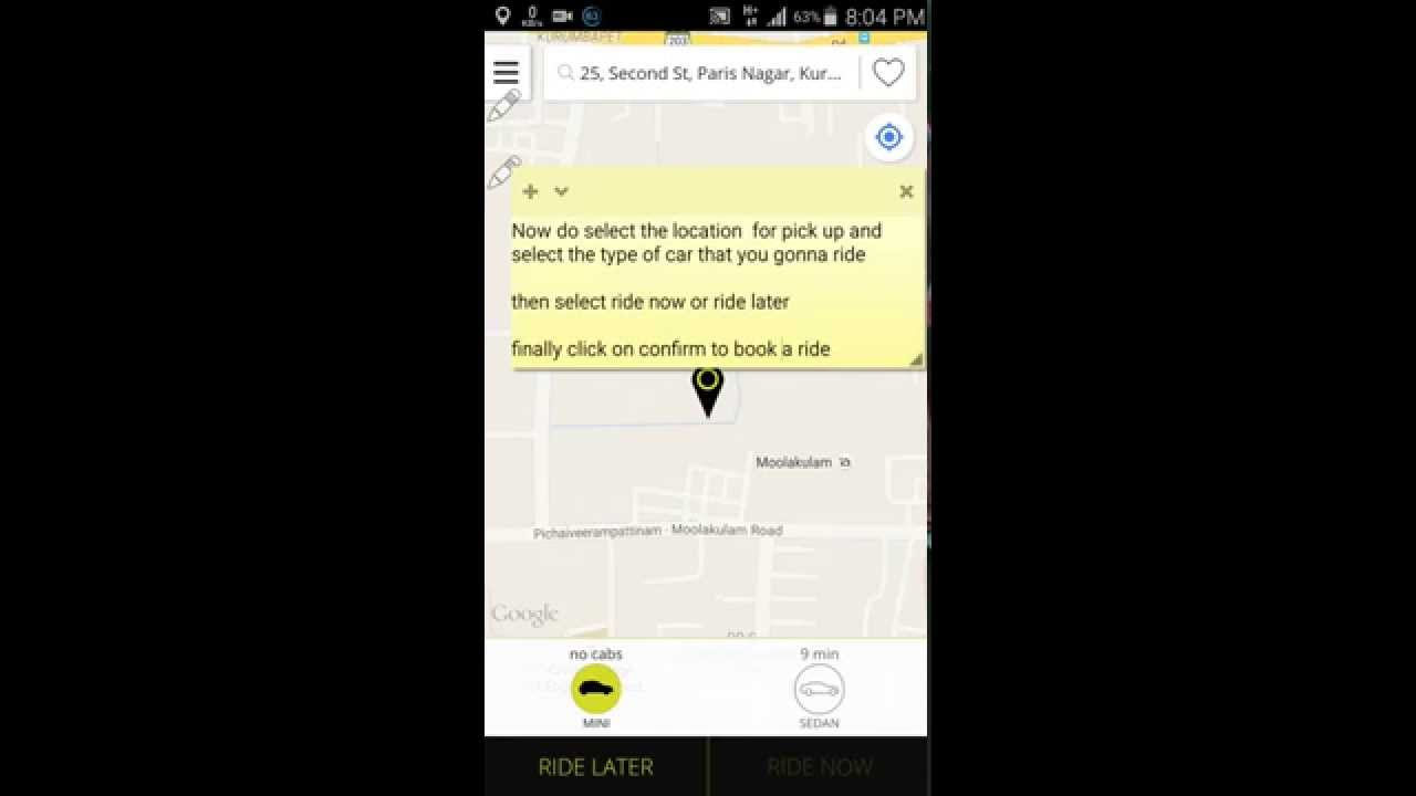 ola cab booking app