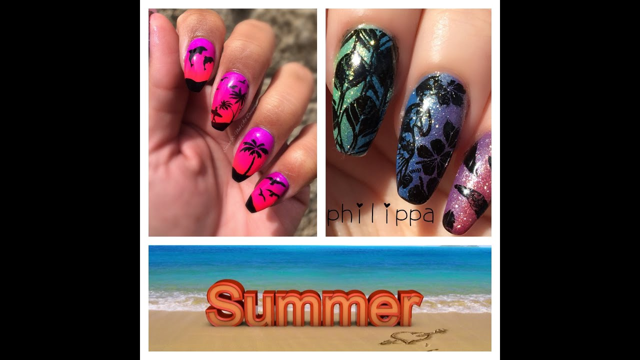 Summer Stamping Collaboration Beach Holiday Nails With Nona
