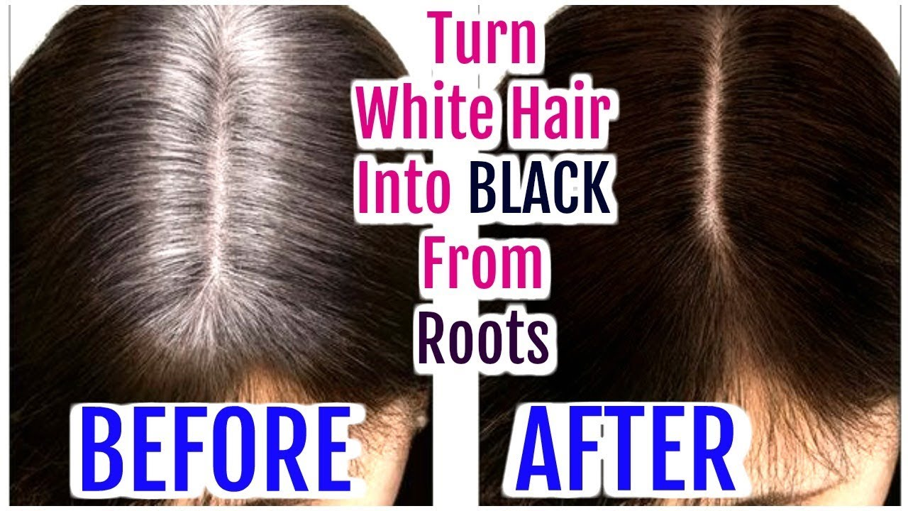 Turn White Hair Into Black From Roots Grey Hair Hair Oil