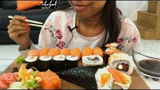SALMON SUSHI AND SASHIMI PLATTER ASMR (Eating Show)