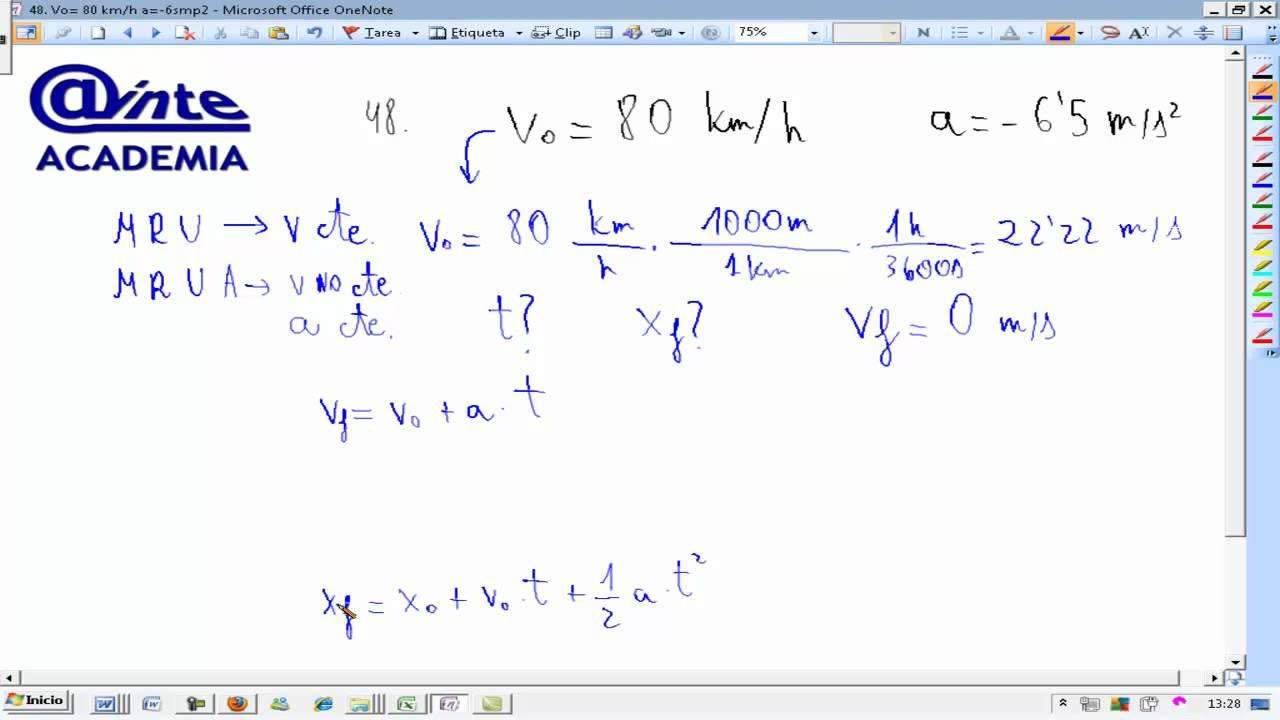 Aceleracion 01 Distancia y tiempo de frenado Fisica 4 ESO AINTE ...