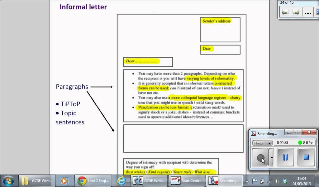 Informal letter - YouTube - sample informal letter format
