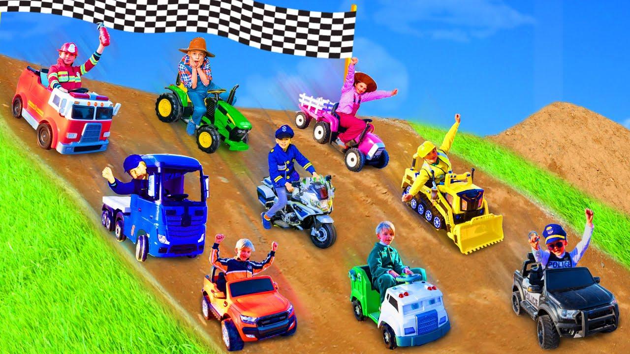 Les enfants apprennent les couleurs avec un camion de pompiers - Kids learn with ride on cars