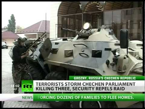 Terrorists storm Chechen parliament killing 3, security repels raid