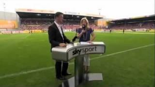 Sky Sports Reporter Hit by Soccer Ball