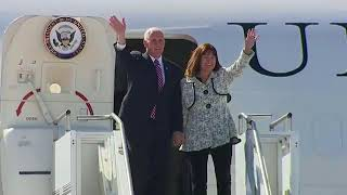 Vice President Mike Pence arrives in Milwaukee, Chicago April 25, 2018