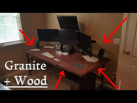 Granite Inlaid Solid Wood Computer Gaming Desk - DIY project