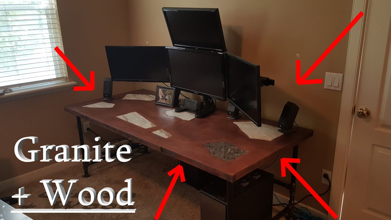 Solid wood computer desks Cool Granite Inlaid Solid Wood Computer Gaming Desk Diy Project Youtube Granite Inlaid Solid Wood Computer Gaming Desk Diy Project Youtube