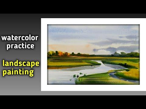 Watercolor landscape painting   easy landscape painting   Art drashti