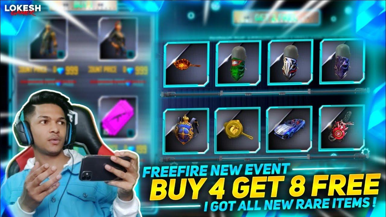 New Buy 4 Get 8 Free Event Got All Legendary Scarfs Skin & New Golden Golden Pan Garena Free Fire
