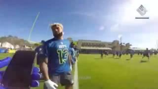 Landon Collins wears GoPro at 2017 Pro Bowl Practice
