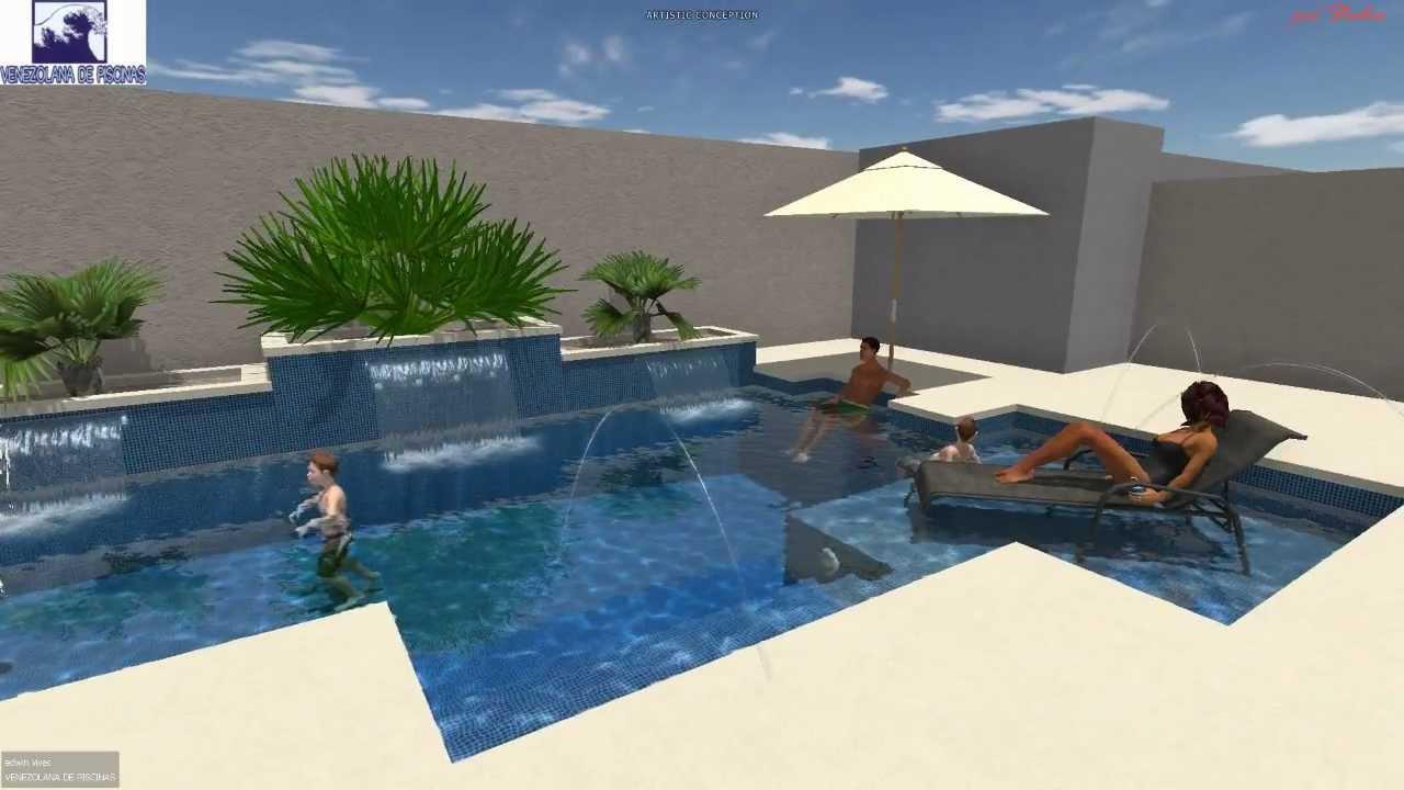 proyecto maracay piscina domestica con efectos de agua