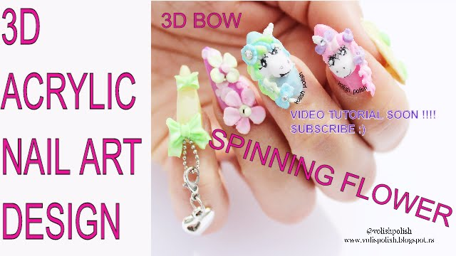3d Ribbons 3d Bows And Spinning Flowers Acrylic Nail Art My