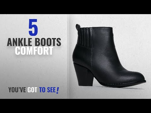 Top 5 Ankle Boots Comfort [2018]: J. Adams High Heel Suede Ankle Boot, Black PU, 6.5 B(M) US