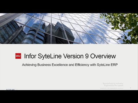 Infor SyteLine 9 ERP Overview Demo Video