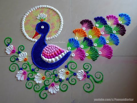 Peacock rangoli using bangles | Easy rangoli designs by Poonam Borkar