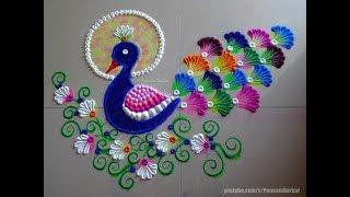 Peacock rangoli using bangles | Easy rangoli designs by Poonam Borkar
