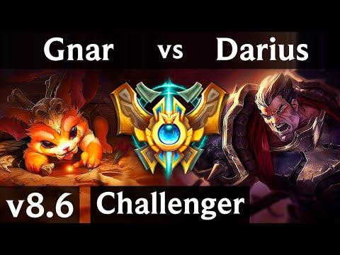 GNAR Vs DARIUS (TOP) /// Korea Challenger /// Patch 8.6
