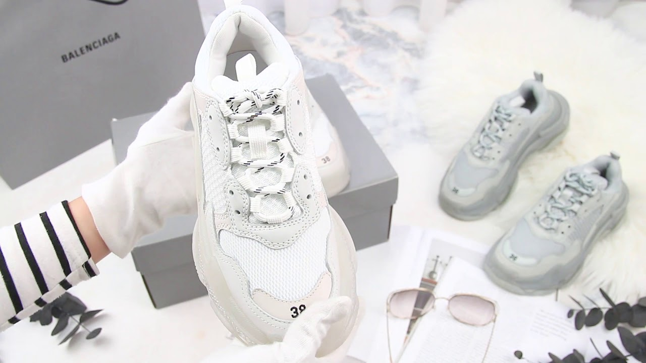 Balenciaga Triple S Clear Sole Trainers 白色透明鞋底復古運動鞋-Charline Boutique歐洲名牌精品代購 - YouTube