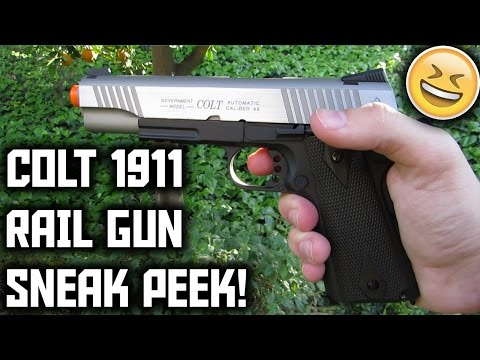 COLT 1911 RAIL GUN TWO-TONED AIRSOFT GBB PISTOL SNEAK PEEK!! AWESOME GBB!