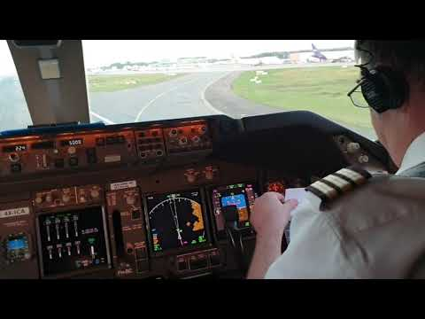 BOEING 747  TAKEOFF.  Startup Engines, Taxi To  Runway And TAKEOFF.. ( Video From The Cockpit)