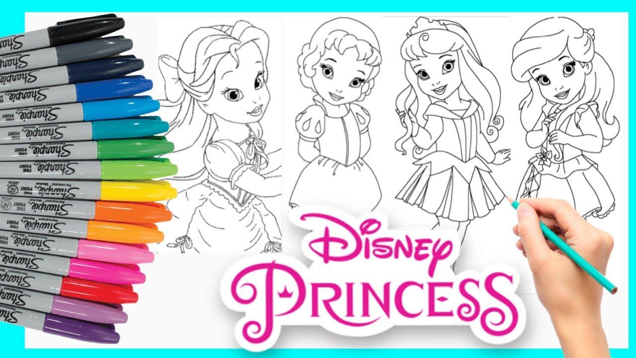 Mewarnai Disney Princess Toddler Coloring Page Belle Ariel Cinderella Snow White Aurora