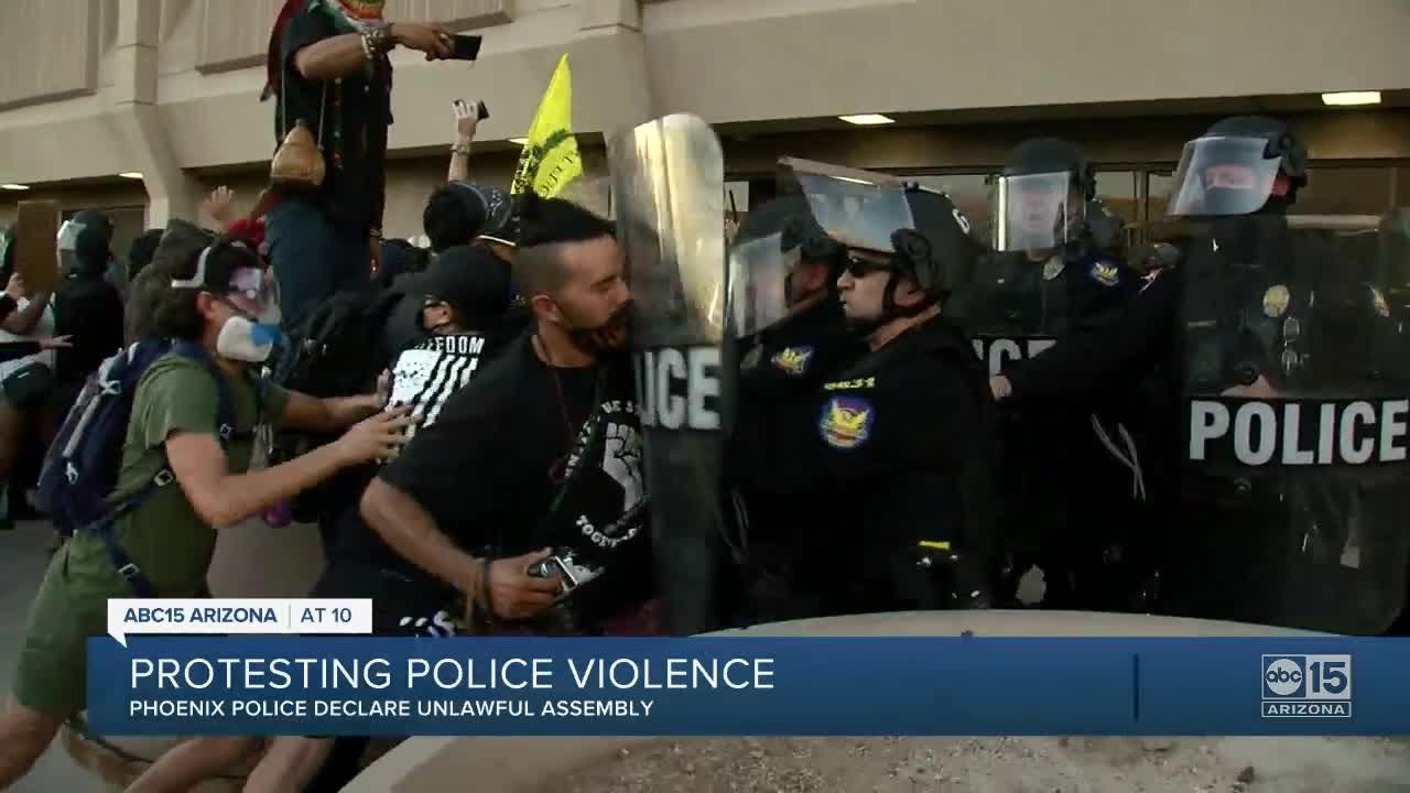VIDEO: Police declare unlawful assembly in downtown Phoenix Sunday night, eight arrested