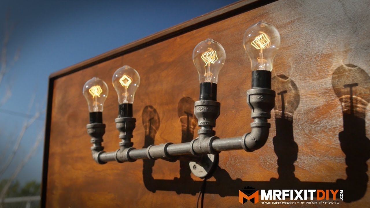 Diy industrial pipe lamp youtube diy industrial pipe lamp solutioingenieria Images