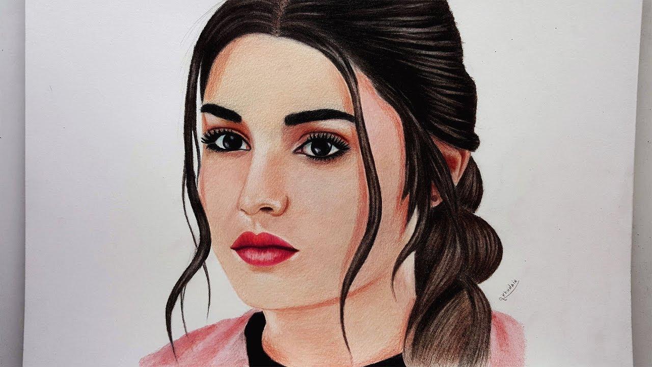 رسومات واقعية رسم بنت بالألوان الخشبية Youtube