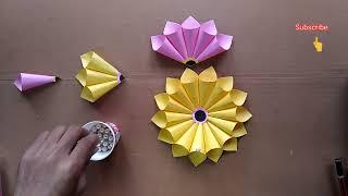 Paper craft wall hanging flower // DIY room decoration // Wall hanging craft ideas with paper