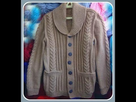 Жакет с шалевым воротником.Часть 3. Рукава и воротник. .Mens knitted jacket