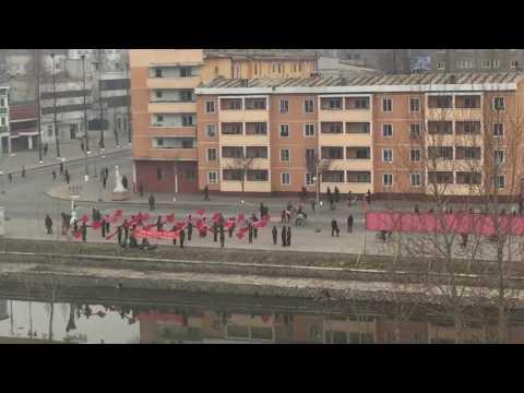 Morning in Pyongsong, North Korea: Propaganda performance: 1 of 2