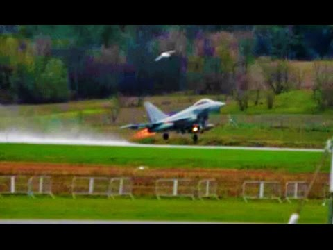 Eurofighter Typhoon startup and takeoff - Gatineau, Quebec (CYND)