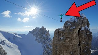 Hayley Ashburn Highlining in the Dolomites Slacklining Extreme Sport