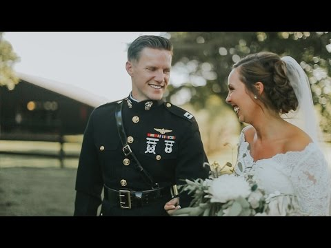 Marine Corps Pilot Cries When He Sees His Bride | Jenn + Brian Wedding Video