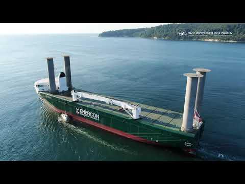 E-Ship 1 via drone at Odessos Shipyard, aerial industrial service Bulgaria, Drone video