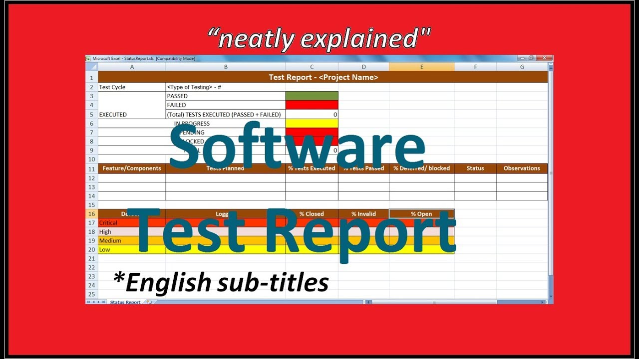 Software test reports youtube for Software test results template
