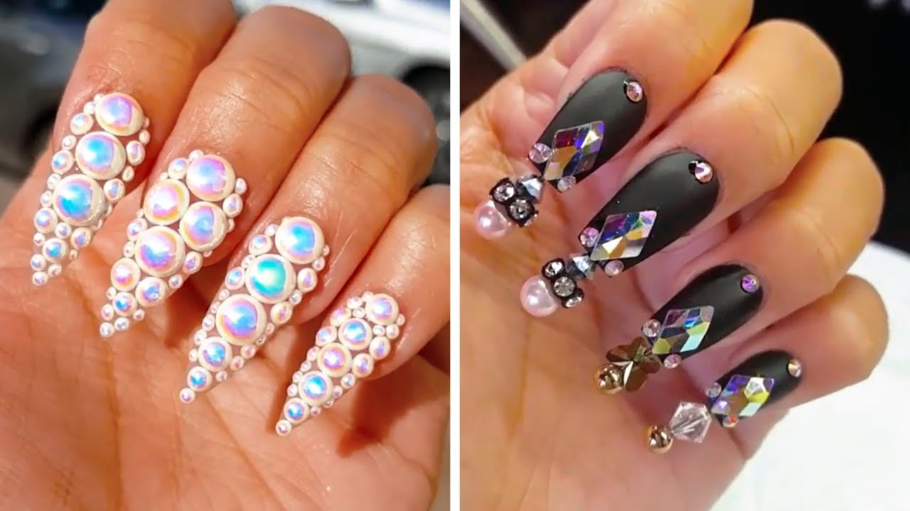 creative acrylic nail art design