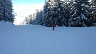 Отпуск в Лес Арк, Франция! Sciing to Les Arcs  France!(Спуск по трассе Моunte Blanco длина трассы 3 км. синяя, перепад высот -642 м. 15.01.2014., 2014-08-02T22:48:16.000Z)
