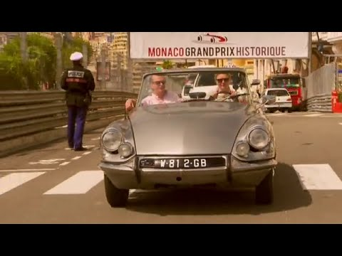 """Jodie Kidd and Quentin Willson behind the wheel our DS Convertible for """"The Classic Car Show""""!"""